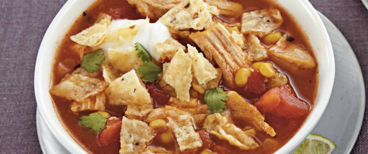 Progresso® broth, Muir Glen® tomatoes, Green Giant® corn, Old El Paso® enchilada sauce and chiles come together in this chicken soup – a perfect slow cooked  dinner.