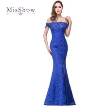 New Mermaid Off The Shoulder Full Lace Crystals Royal Blue Bridesmaid Dress Wedding Party Dress Robe Demoiselle D'honneur CPS199(China)