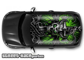 Fantasy demon skull - printed and laminated (air release) vinyl car roof graphics.