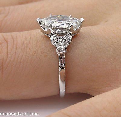 GIA 1.50ct Antique Vintage Art Deco Old Marquise Diamond Engagement Wedding Platinum Ring