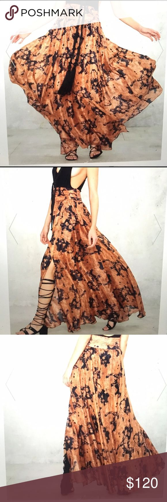 Summer Nights SiLK skirt This skirt is made in SiLK and features a navy and peach floral print. Enclosed zipper and lit at side.. high waisted fit and full maxi silhouette. Fully lined. Looks amazing with body suit or plunging bra top. Never worn!! By Nast Gal Nasty Gal Dresses Maxi