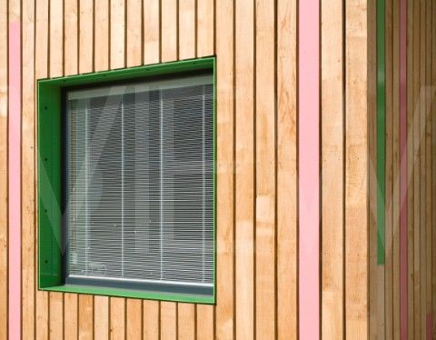Tuke School Haverstock Associates London 2010 Oblique detail of window reveal and colourful exterior