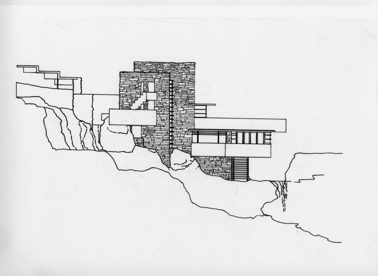 West elevation showing cantilevered floors and terraces - Maison sur la cascade ...