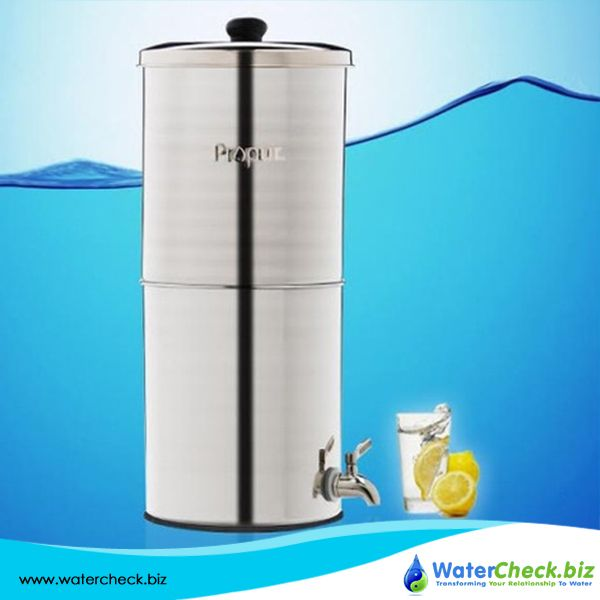 propur big stainless steel gravity fed fluoride water filter purifier with 7 inch proone filters - Fluoride Filter