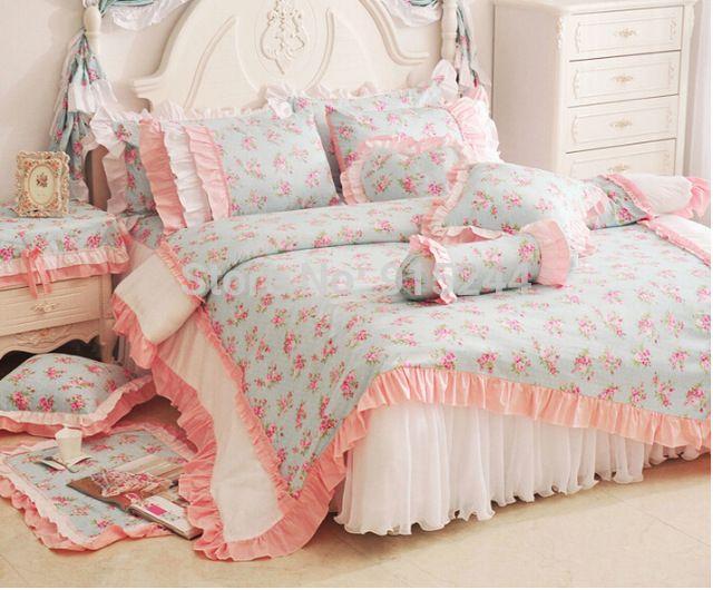 Ярко розовый с оборками кружева принцесса хлопок свадьба 4 pcsBedding королева король близнец пастырской кровать в мешок западная светлый одеяло пуховое одеяло комплект