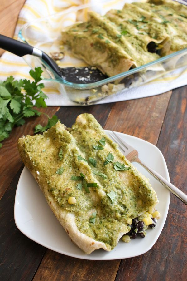 these corn and goat cheese enchiladas include sautéed mushrooms and spinach, black beans, cilantro, and cheddar for a well-rounded flavor.