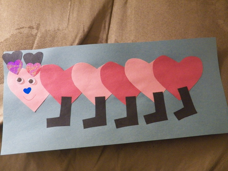 Valentines art project - heart caterpillar. (photo by me) @Carmen Mendez like your fantastic art project is famous! Lol.