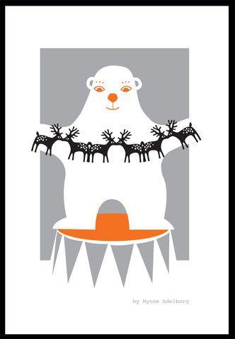 Isbjørne plakat, A3 – Mini Zoo by Nynne Adelborg
