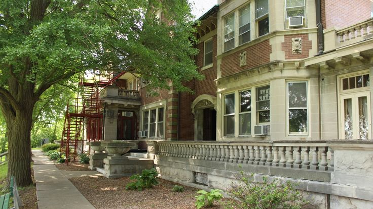 Rear view of historic Bettendorf Mansion, campus of Rivermont Collegiate
