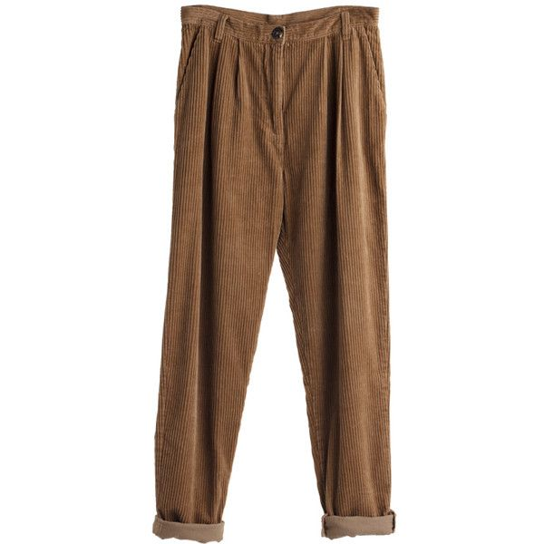 Mtwtfss Weekday Ann Cord Trousers Brown ❤ liked on Polyvore featuring pants, bottoms, trousers, jeans, women, brown trousers, mtwtfss weekday, cord pants and brown pants