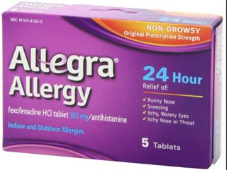 Treat allergy - Buy now: Allegra (Fexofenadine) is used for treating seasonal allergy symptoms such as sneezing, runny nose, itchy throat, or itchy, watery eyes. It is also used to treat hives and skin itching.