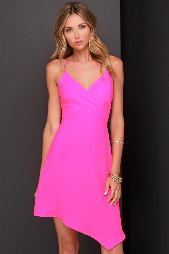 Hand Over Heart Neon Pink Dress