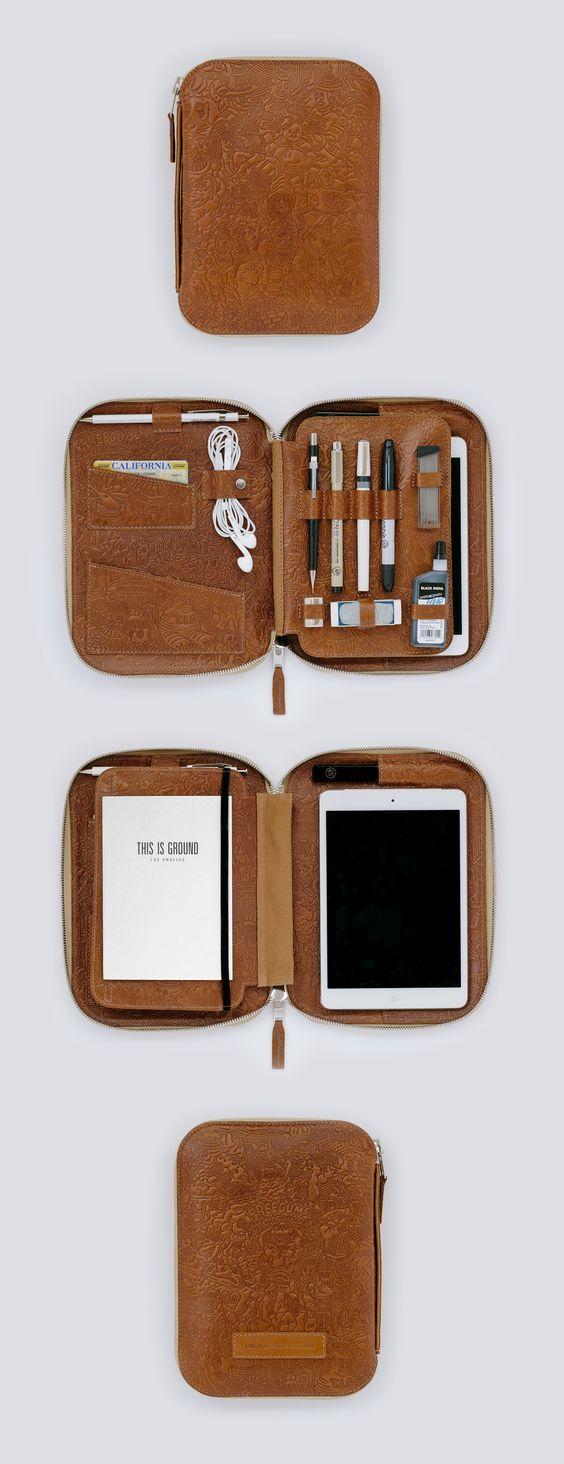 Custom Handmade Vegetable Tanned Italian Leather Clutch iPad Bag Pouch Bag