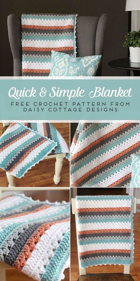 Use this quick and simple free blanket crochet pattern from Daisy Cottage Designs to create a beautiful afghan in any color way. #freecrochetpattern (scheduled via http://www.tailwindapp.com?utm_source=pinterest&utm_medium=twpin)