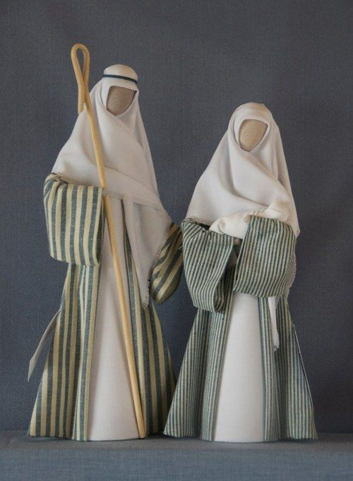 N 13: Joseph in wide striped gown, Mary in fine striped denim gown - white headdresses.