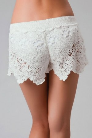 LETARTE Crochet Shorts White