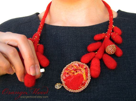red and gold felted necklace