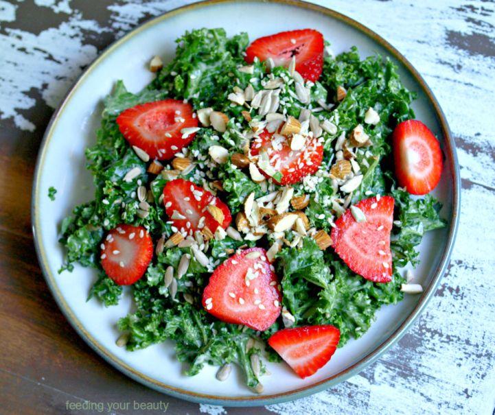 kale & strawberry salad with tahini dressing