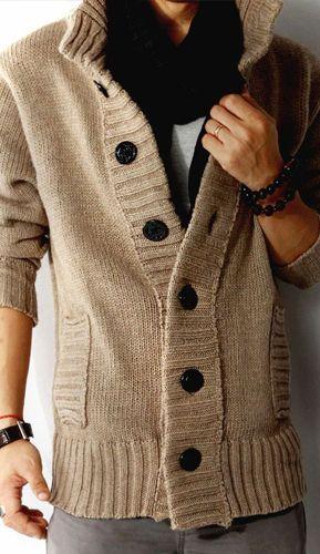 Men s Shawl Collar Woolen Knitwear Cardigan Sweater Coat Jacket 2 Colors  B614  6b55e2cdb