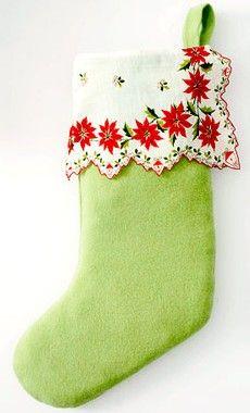 Christmas stocking hankie  find vintage  Christmas hankies here: http://www.nanaluluslinensandhandkerchiefs.com/