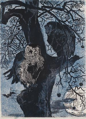 Gertrude Hermes (English, 1901-1983). Owls. 1955. Linocut.