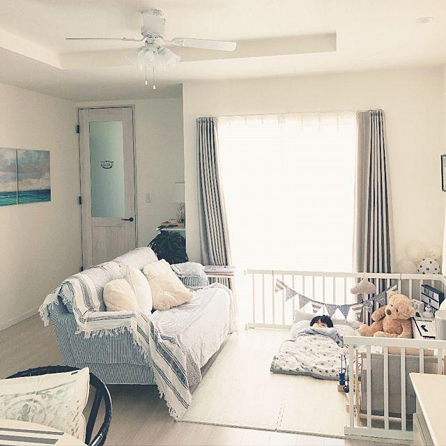おしゃれな家にしたい こどもと暮らす 赤ちゃんのいる暮らし Ikeaのソファー Overview などのインテリア実例 ファミリールーム 部屋の装飾 リビング キッズスペース