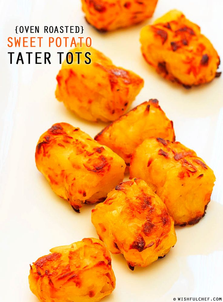 Homemade Oven Roasted Sweet Potato Tater Tots.  #cambiaticlean