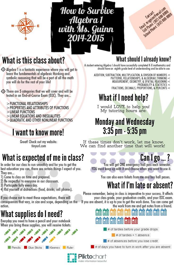 Algebra 1 Syllabus Front | @Piktochart Infographic