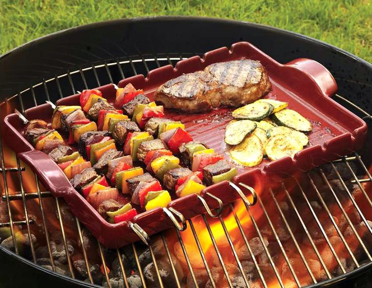Easily grill up shish-kabobs, delicate seafoods, poultry, meat, or vegetables with better results and without the mess.