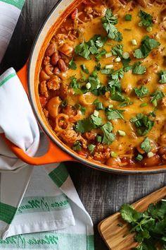 One Pot Cheesy Turkey Taco Chili Mac   Skinnytaste