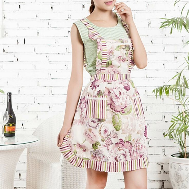 Cheap aprons sexy, Buy Quality apron fabric directly from China apron design Suppliers:        2016 Fashion 1 Pcs Women Mujer Restaurant Home Kitchen Floral Apron Printed Pocket Lace Cooking Cotton Apron WQ10