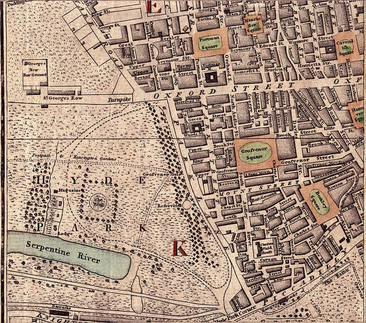 Area Surrounding Oxford Street, Portman, Cavendish, Grosvenor & Berkley Squares, Including Seymour, Green, Brook, King, South Molton, Henrietta, Wigmore, Mount and Curson Streets,  and St Georges Row, Hyde Park, Serpentine River, Piccadilly, the turnpike, Hyde Park Corner, and Chesterfield House. Fairburn Map 1801