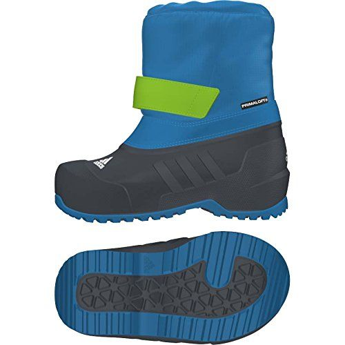 Adidas M22753 Infant Med Blue Winterfun Primaloft I Boot, 7.5K. Upper: Hook and loop closure system for adjustment and optimal fit. Lining: Primaloft� Gold insulation for superior warmth and water resistance. Winter boots for little adventurers. Textile / Synthetic. Upper: Drawcord closure to keep snow out. Slip on easy and keep feet warm with PrimaLoft� insulation, a protective EVA cap, and a strap closure and elastic snow cuff to keep the snow out. Bottom: Protective EVA shell.