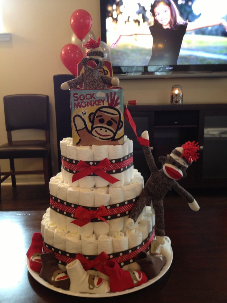 Sock Monkey Diaper Cake Keagan