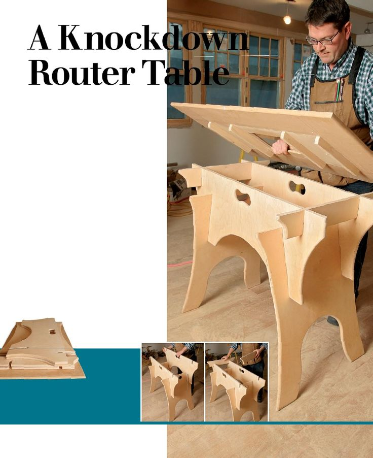 """""""A Knockdown Router Table"""" Looks like an interresting option, although I fear I would just leave it up all the time..."""