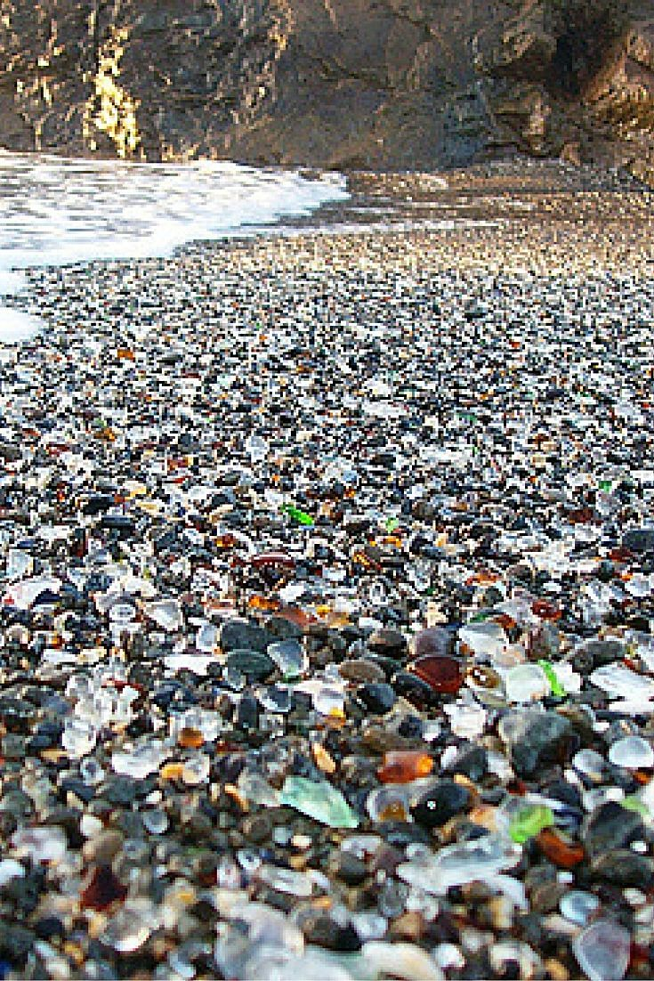 Glass Beach is located near Fort Bragg, California, and gets its name from the tons of sea glass laying on top of the sand. Click through to see 15 more of the world's most unique & awesome beaches!