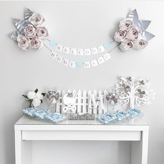 Such a BEAUTIFUL set up from my template client @withlovemyla who put this all together for her sons welcome home party 💙#paperflowers #paperflower #welcomehome #sweetbabyboy #beautiful #love #art #decor