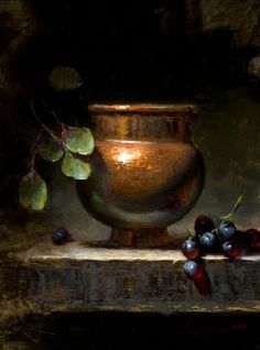 """Jeff Legg (1959 - ), American Artist who is a member of the """"Oil Painters of America"""": The artwork shown is 'Abundance', 12"""" x 9"""", Oil on canvas."""