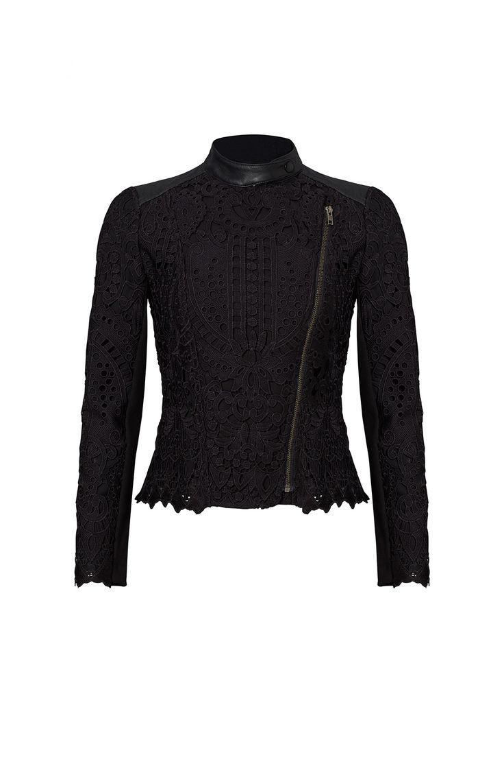Rent Black Lace Moto Jacket by Cut 25 for $115 only at Rent the Runway.