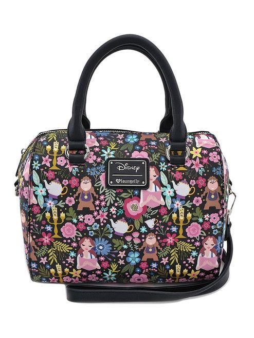 Loungefly x Disney s Beauty and the Beast Floral Print Duffle Bag ... 6a9a54b0067f8
