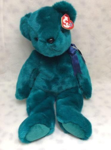 Ty Beanie Buddy Buddies Collection - TEDDY the Green Bear/with Tag -- NEW!
