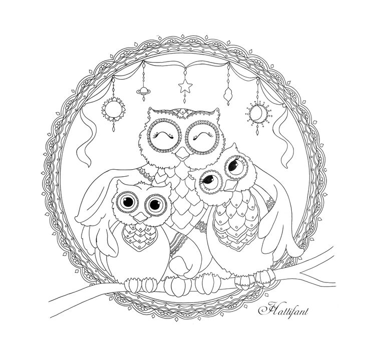 mandala para colorear hattifant 39 s owl family love mandalas y m s. Black Bedroom Furniture Sets. Home Design Ideas