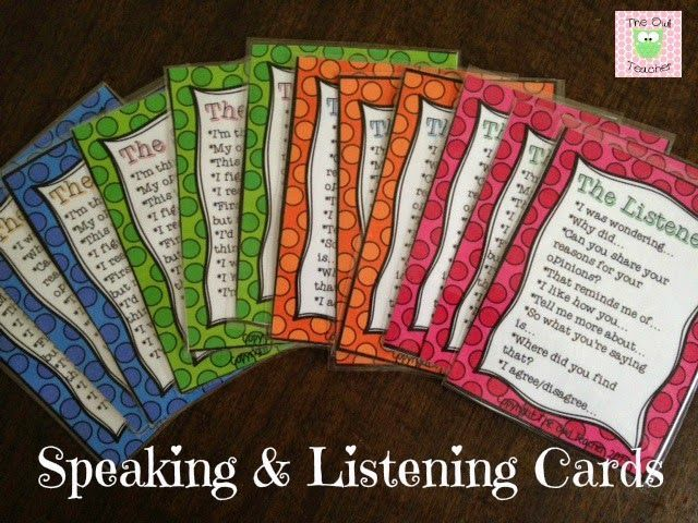 FREE DOWNLOADABLE Speaking and listening cards to help address your reading ccss.  This is a great way to teach your students communication!