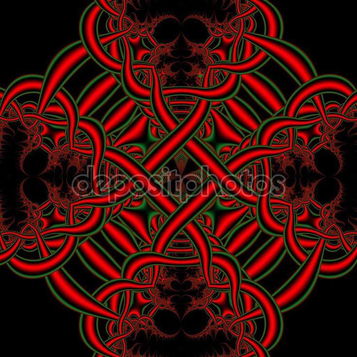 Sfondo insolito nodi celtici. Giorno di St Patrick. Opera d'Arte frattale per il disegno creativo — Immagini Stock #101408592