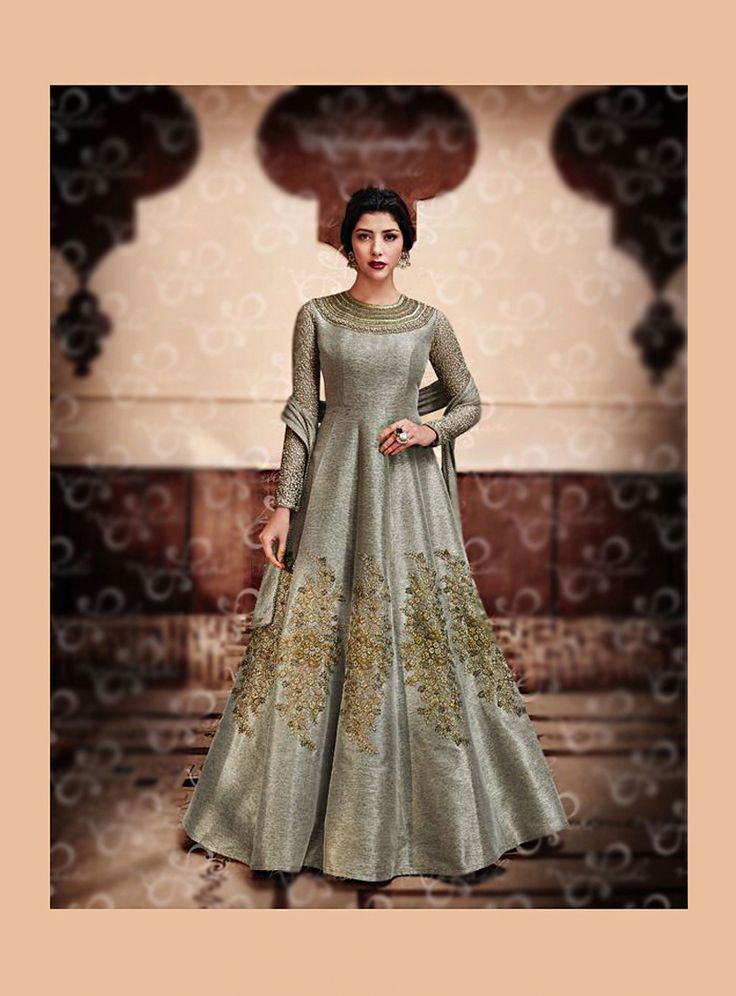 Gray Silk Floor Length Anarklai Suit 86772
