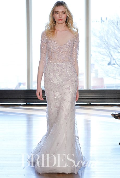 """Brides: Rivini by Rita Vinieris - Spring 2017. """"Didi"""" translucent beaded gown in a spiraling mix of hand wrapped flowers, Rivini by Rita Vinieris"""