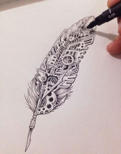 Line work, Steampunk & feather - seriously, what's not to love here?  Awesome tat material.