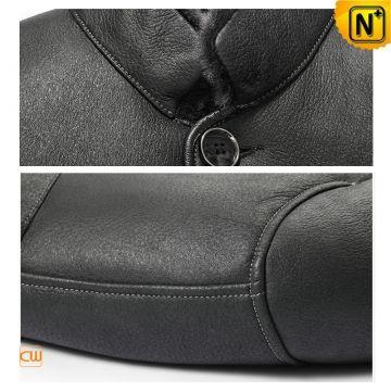 Black Sheepskin Jacket Coat for Men CW852205