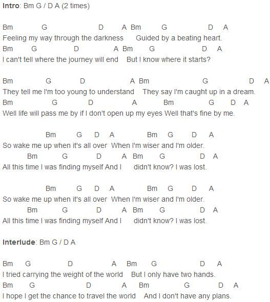 Avicii - Wake Me Up Chords