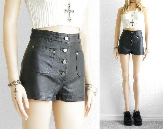 Leather Shorts High Waist Shorts Black Leather by 2treasurehunt